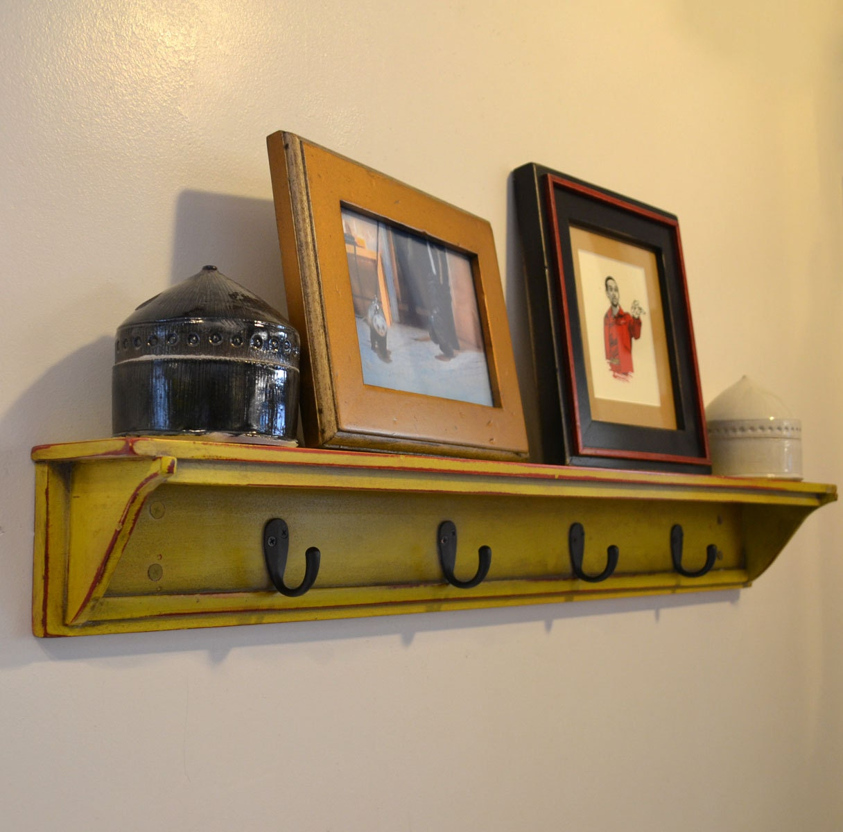 Handmade 30 Inch Long One Level Coat Rack Wall Shelf In