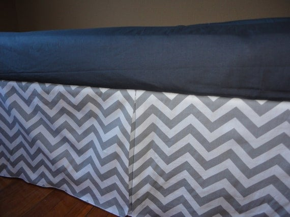 ships fast grey and white chevron pleated crib skirt