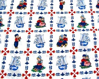Delft Blue cotton fabric - Dutch print - Fat Eight