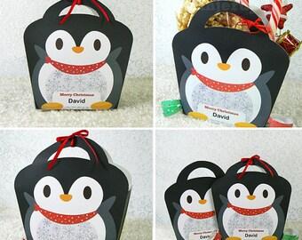 Kawaii Christmas Joy Penguin Treat Basket Giftbag Editable Printable PDF