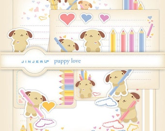 True Love Puppy Stationery Printable PDF