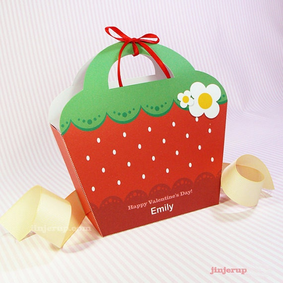 Kawaii Red Strawberry Giftbag Cute Valentine's Day Easter Love Birthday Party Treat basket Strawberry Bag Packaging Editable Printable PDF