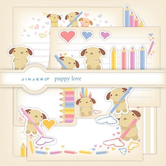 True Love Puppy Stationery Printable PDF