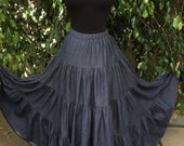 Tiered Maxi Length Denim Twirl Skirt