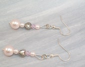 Beaded Earrings Pink Pearls and Metal Hearts Swarovski Crystal