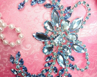 "XR127 Ice Blue Crystal Rhinestone Applique Embellishment 7.5"" (XR127-lbl)"