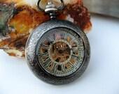 Premium Victorian Engravable Gunmetal Mechanical Pocket Watch, Watch Chain - Groomsmen - Watch - Steampunk Edwardian - Item MPW249e