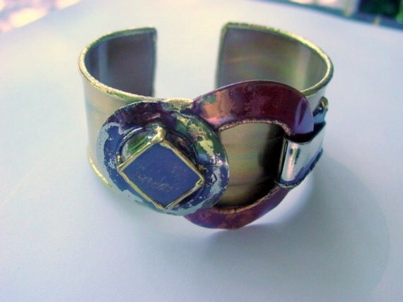 Vintage Modern Bracelet, Handcrafted Artisan Made Metal Work Cuff Abstract South Africa Vintage Jewelry Jewellery