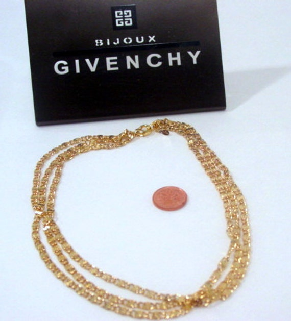 Signed Givenchy Vintage Designer Three Strand Necklace Gold Tone Heavy Chain French Couture Vintage Jewelry Jewellery Multistrand