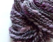 Handspun Wool Yarn - hand dyed wool in soft purple and moss green - bulky rustic 2ply, 34 yards