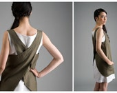 Apron Dress - olivegreen Linen Tunic with pockets