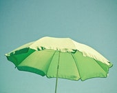 Beach photograph - Holiday, seaside vacation, parasol, lime green umbrella, home decor - Green Parasol