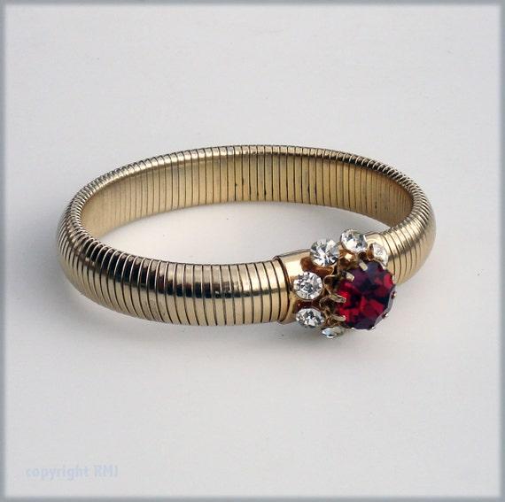 Vintage Gold Flex Bracelet with Cherry Red Stone - Retro 1950s