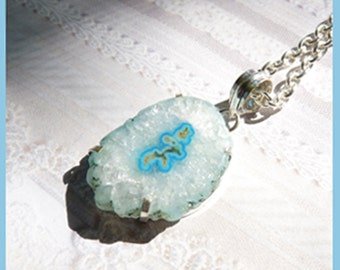 Beautiful Blue Semi Transparent Crystal Stalactite - Sterling Silver Necklace  C 7892