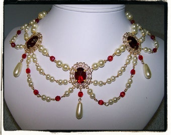 Ruby and Pearl Collar Renaissance Tudor Necklace Game of Thrones Jewelry