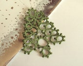 Green Beaded Christmas Tree Ornament - Fenella - Small