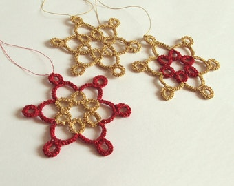 Set of Three Red and Gold Christmas Tree Decorations - Celyna