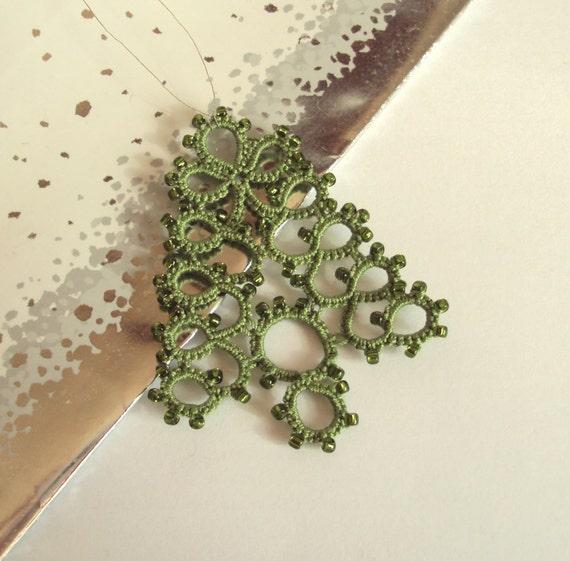 Christmas Tree Ornaments Etsy: Items Similar To Green Beaded Christmas Tree Ornament
