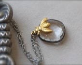 Quartz  Pendant in Oxidized Sterling with gold bee