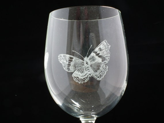 Hand Engraved Butterfly Glass
