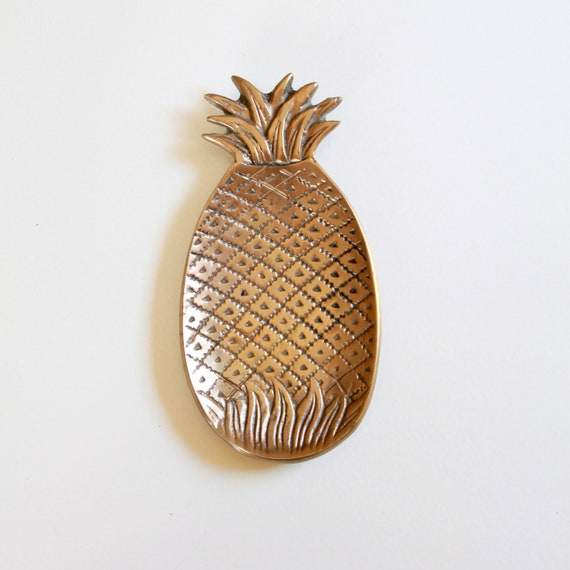 Vintage Brass Pineapple Tray - Jewelry Holder - Business Card Holder