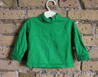 Size 12-18M Bright Green Long Sleeve Shirt 60s / Vintage Kleinerts Wear