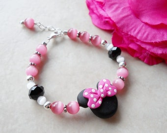 Pink and Black Mouse Ears Polymer Clay Bracelet All Sterling Silver B056