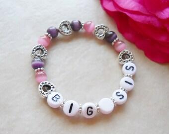 Favorite Colors Big Sis Big Sister Bracelet Cat's Eye Stretchy Bracelet B018