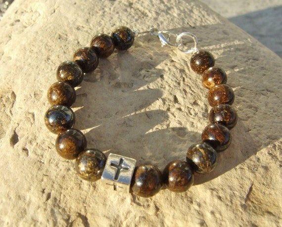Baby Boy Child Stone and Sterling Bracelet with Cross Cube Bead B099
