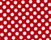 Ta Dot .5 half inch across Polka Dots Fabric Michael Miller Minnie White on Red