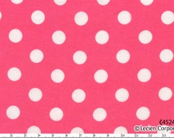 Lecien .5 inch Polka Dot Dots Fabric 4524 White on Hot Shocking Pink