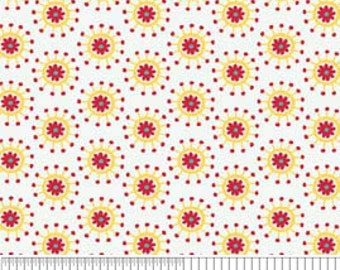Hoos In The Forest cotton Riley Blake Fabric Flower Jacks Polka dots Red and Yellow on White