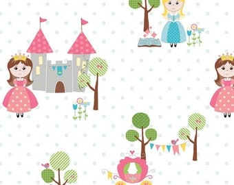 oop htf 18 inches half yard Happy Ever After RB Fabric Princess Castle Fairy Tale Princesses Blue Polka Dot Dots