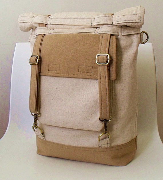 Convertible Roll Top Backpack Messenger Bag TRAVELER in OATMEAL