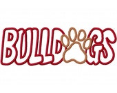 Bulldogs with a Paw Print Embroidery Machine Applique Design 2335 Instant Download