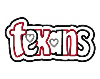 Texans 2 Color Embroidery Machine Double Applique Design 2765