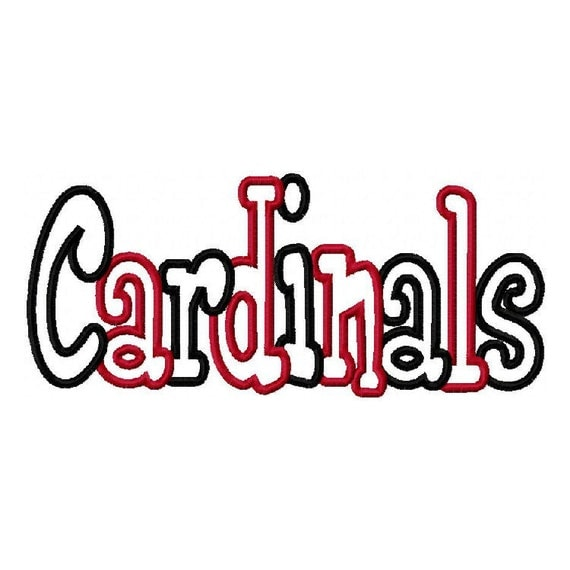 Cardinals 2 color Embroidery Machine Applique Design 2868