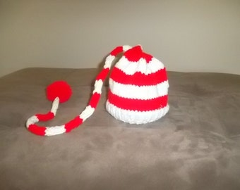 Holiday Wear, Newborn Knitted Hat, Elf Hat, Christmas Gift, Elf Long Tail hat, Photography Prop,