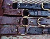Black or brown ring belts with buckle w/ scalloped appliqued edges