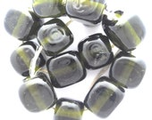 Lampwork glass beads: Set of dark green olive oil bottle cube beads SRA P97