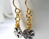 artisan flower drop 14 kt goldfilled wire wrap bead oxidized sterling silver dangle earrings