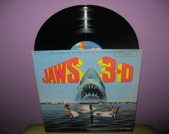 HOLIDAY SALE Vinyl Record Album Jaws 3D Original Soundtrack Lp 1982 Horror Halloween Classic