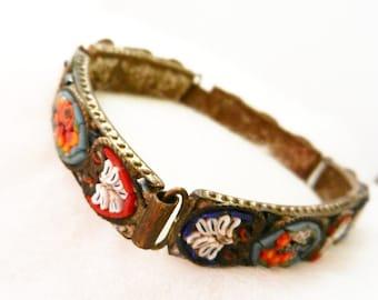Antique jewelry-Vintage Italian 1940 - Stunning micro mosaic bracelet - Florentine Italian Art---ART.276/2 -