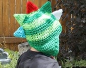 Spiky dinosaur Earflap Hat ALL sizes ANY colors Newborn to Adult