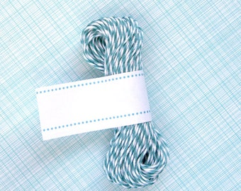 Ocean Teal Blue Bakers Twine - Blue and White Striped Twine (15 yards)