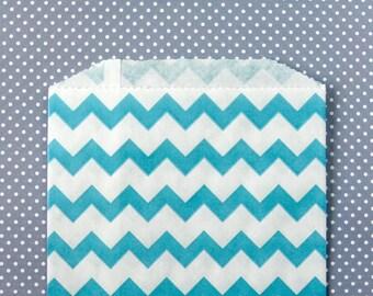 Blue Chevron Goody Bags / Favor Bags / Treat Bags (20) - 5 x 7.5 inches - Midi Size