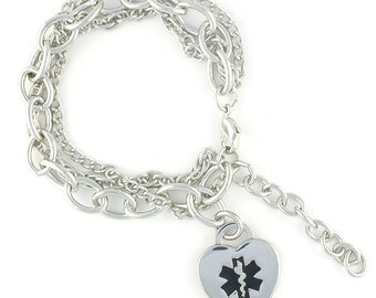 Triple Trend Medical Charm Bracelet