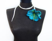 SALE felt sea flower necklace, fiber flower turquoise lariat, eco friendly, statement necklace