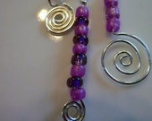 Long Beaded Bling Dangle Keychain with Charms, Swirls, and glass purple seed beads