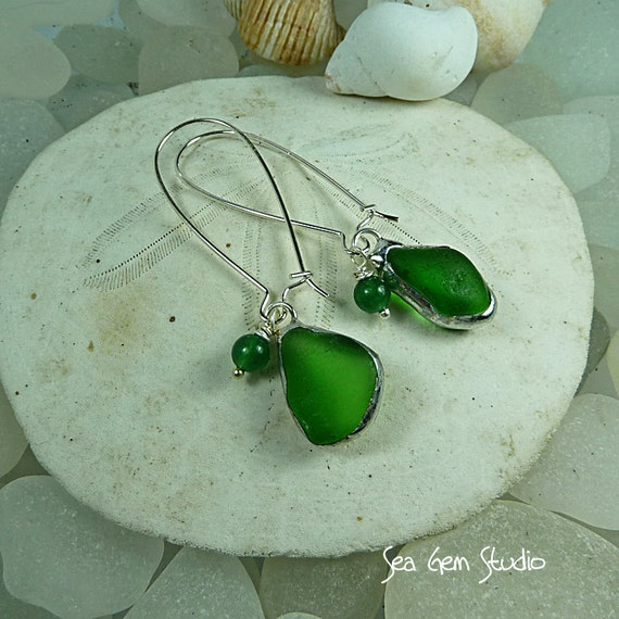 Elegant sea glass earrings, sea glass jewelry, beach glass, bridal earrings, beach wedding, eco friendly